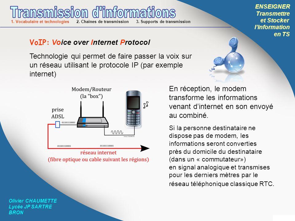 ENSEIGNER Transmettre et Stocker lInformation en TS Olivier CHAUMETTE Lycée JP SARTRE BRON VoIP: Voice over Internet Protocol Technologie qui permet d