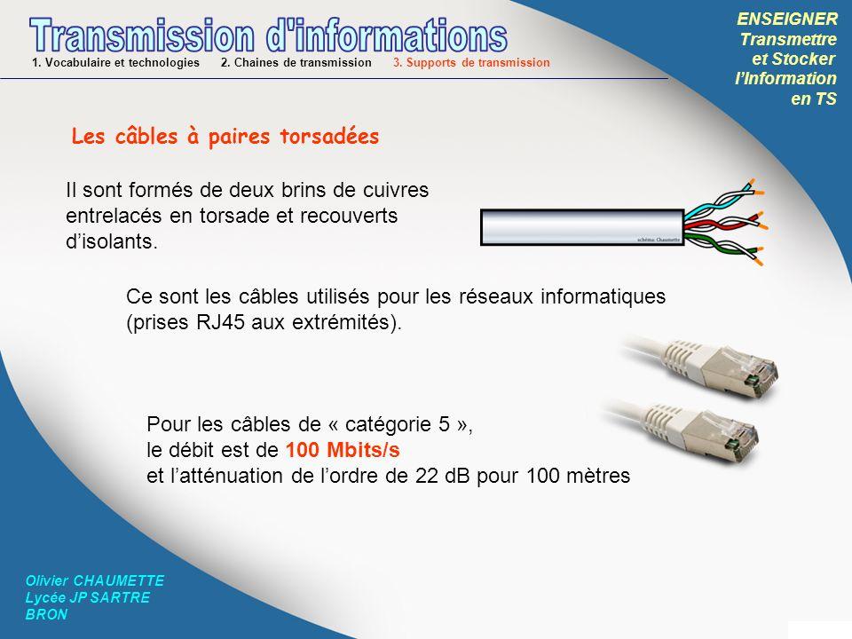 ENSEIGNER Transmettre et Stocker lInformation en TS Olivier CHAUMETTE Lycée JP SARTRE BRON 1. Vocabulaire et technologies 2. Chaines de transmission 3
