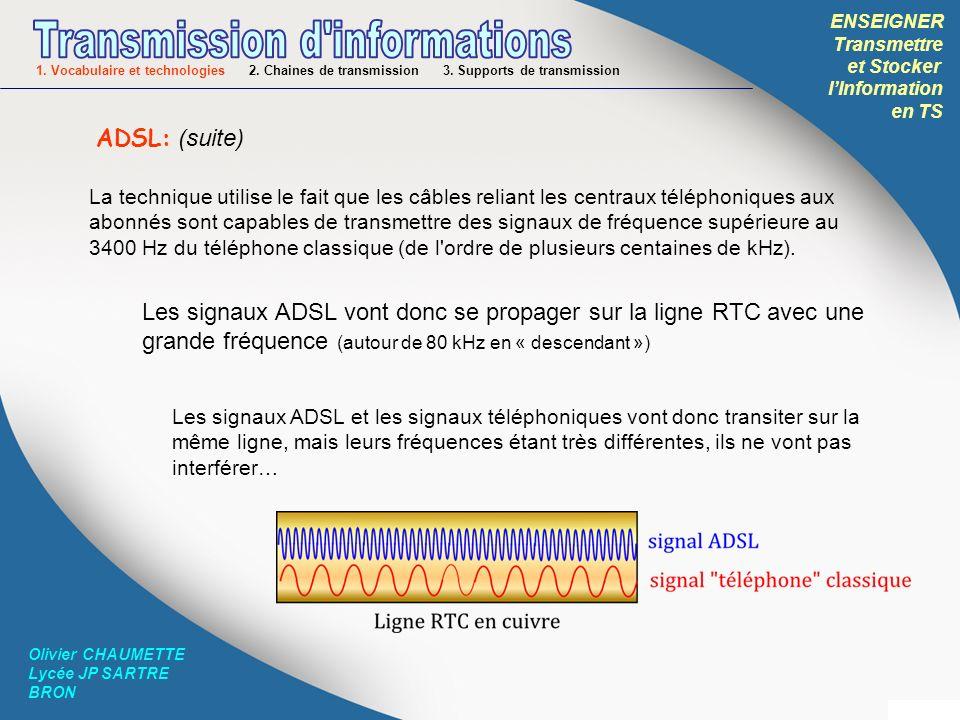 ENSEIGNER Transmettre et Stocker lInformation en TS Olivier CHAUMETTE Lycée JP SARTRE BRON ADSL: (fin) FILTRE: permet de séparer les signaux téléphone (basses freq) de ceux ADSL (hautes freq) avant lenvoi sur la ligne MODEM: permet de moduler les informations numériques (les 0 et 1) cest-à-dire les transformer en pulsations électriques de haute fréquence: le signal ADSL TELEPHONE: permet de transformer les sons en signal électrique de fréquence comprise entre 300Hz-3400Hz Cest la « box » internet .