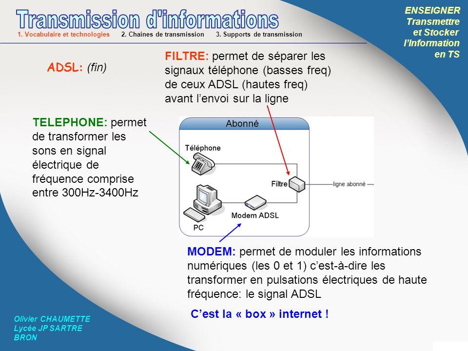 ENSEIGNER Transmettre et Stocker lInformation en TS Olivier CHAUMETTE Lycée JP SARTRE BRON MODEM: MOdulateur / DEModulateur Il permet de moduler (et démoduler) le signal à émettre (et reçu) suivant une norme propre à chaque technologie utilisée (ADSL, Wifi…) ROUTEUR: Il permet de transmettre à plusieurs ordinateurs reliés à un réseau informatique (filaire ou non) les informations qui leur sont destinées.