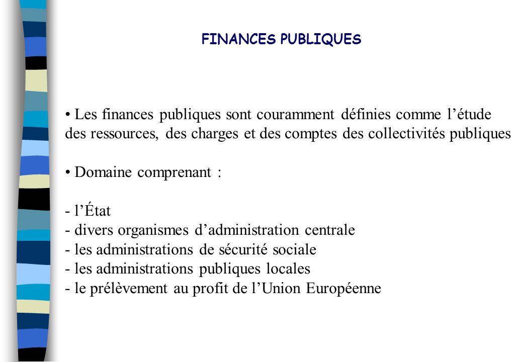 FINANCES PUBLIQUES Introduction : la comptabilité nationale et les acteurs économiques Notion du droit budgétaire et de comptabilité publique Cadre économique des finances publiques Les politiques économiques