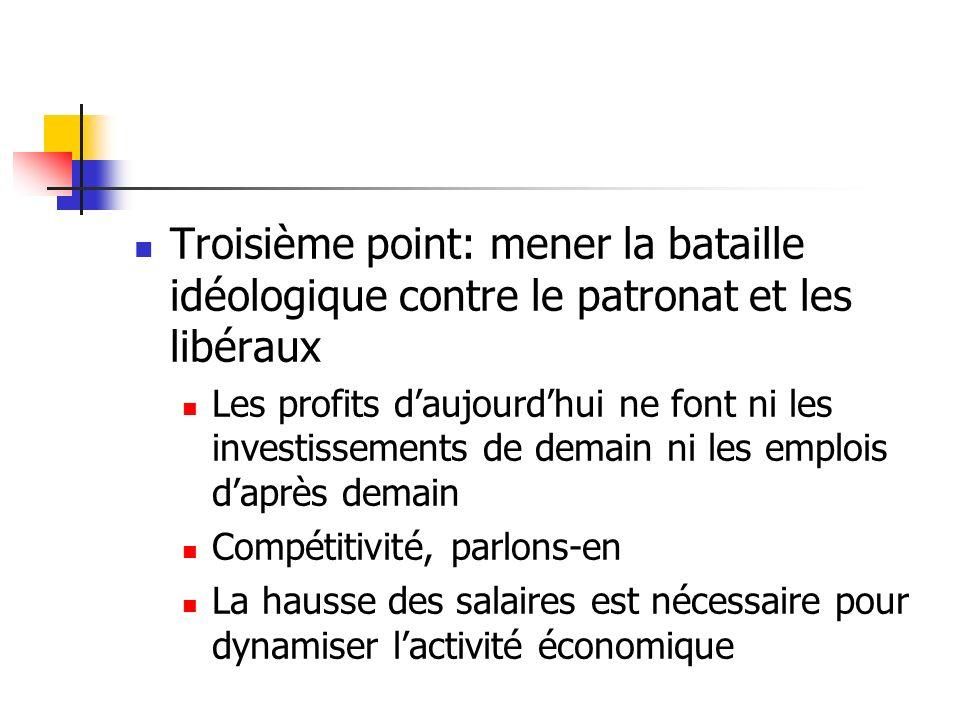 Troisième point: mener la bataille idéologique contre le patronat et les libéraux Les profits daujourdhui ne font ni les investissements de demain ni les emplois daprès demain Compétitivité, parlons-en La hausse des salaires est nécessaire pour dynamiser lactivité économique