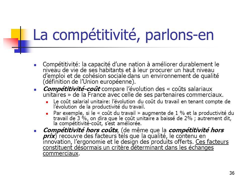 36 La compétitivité, parlons-en Compétitivité: la capacité dune nation à améliorer durablement le niveau de vie de ses habitants et à leur procurer un haut niveau demploi et de cohésion sociale dans un environnement de qualité (définition de lUnion européenne).