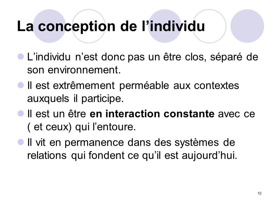 10 La conception de lindividu Lindividu nest donc pas un être clos, séparé de son environnement. Il est extrêmement perméable aux contextes auxquels i