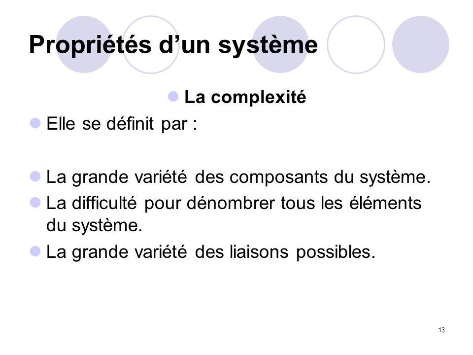 13 Propriétés dun système La complexité Elle se définit par : La grande variété des composants du système. La difficulté pour dénombrer tous les éléme
