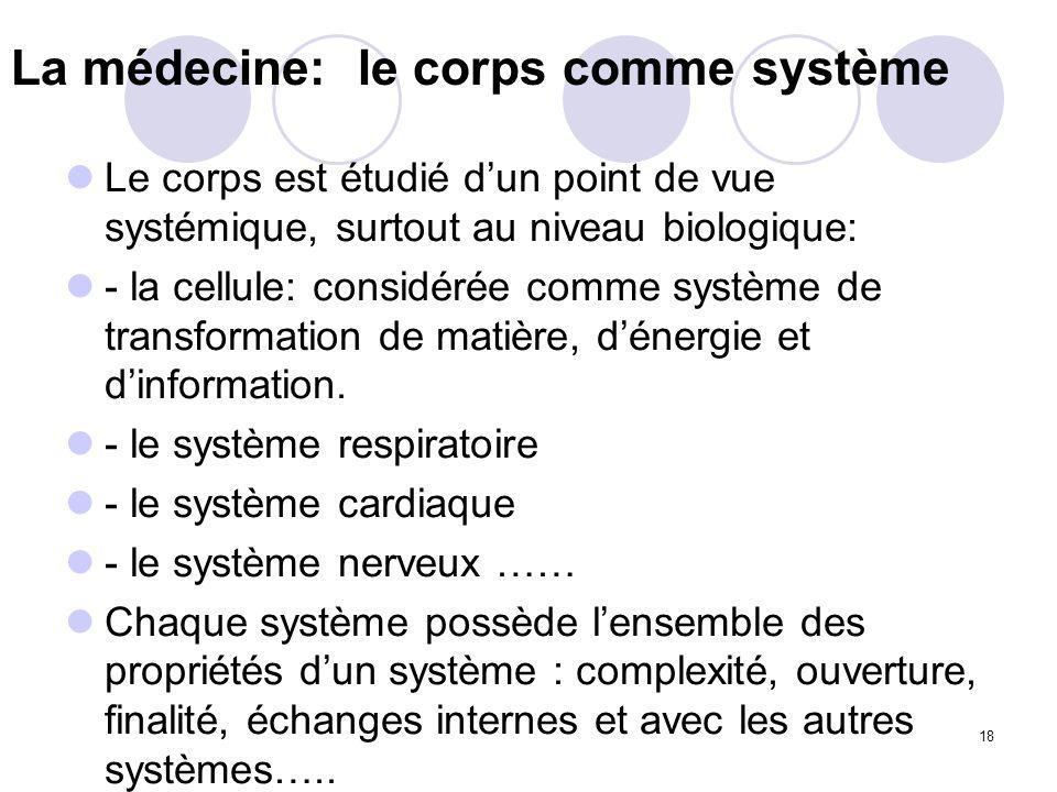 18 La médecine: le corps comme système Le corps est étudié dun point de vue systémique, surtout au niveau biologique: - la cellule: considérée comme s