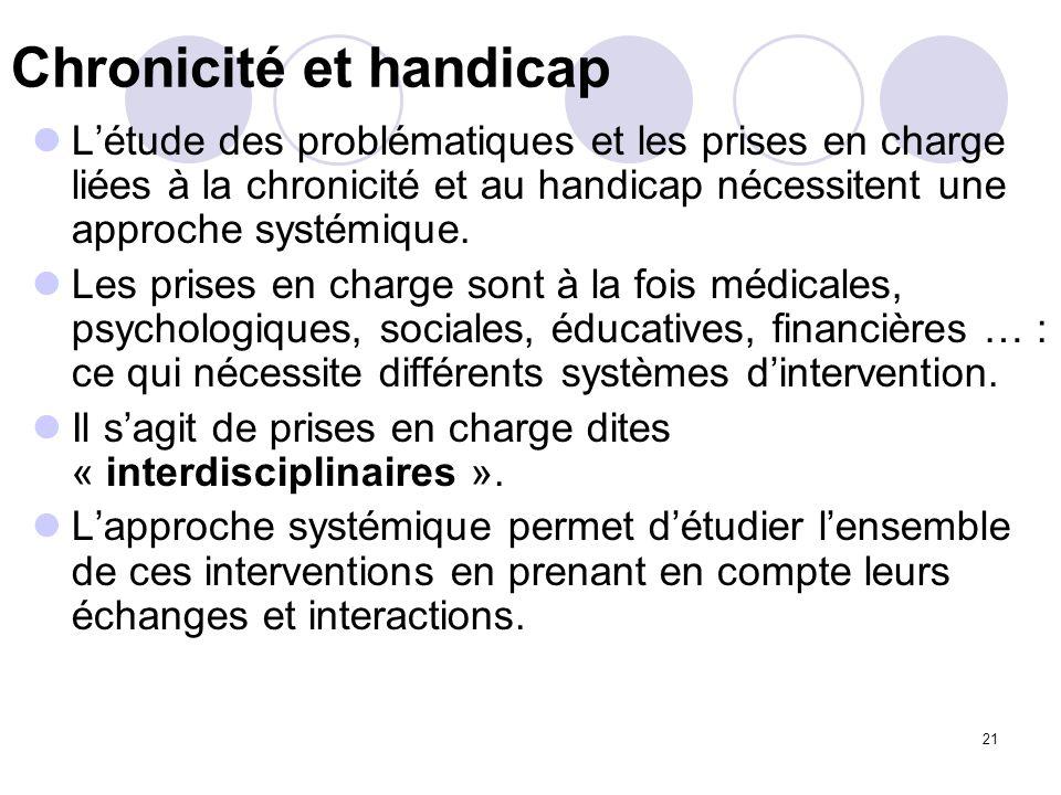 21 Chronicité et handicap Létude des problématiques et les prises en charge liées à la chronicité et au handicap nécessitent une approche systémique.