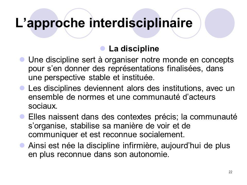 22 Lapproche interdisciplinaire La discipline Une discipline sert à organiser notre monde en concepts pour sen donner des représentations finalisées,