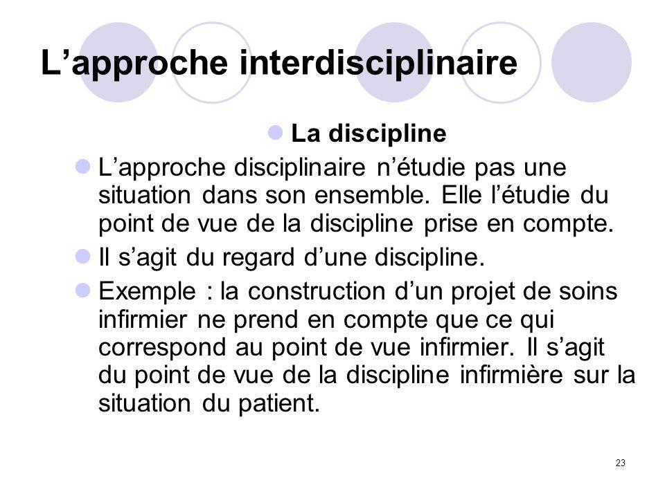 23 Lapproche interdisciplinaire La discipline Lapproche disciplinaire nétudie pas une situation dans son ensemble. Elle létudie du point de vue de la
