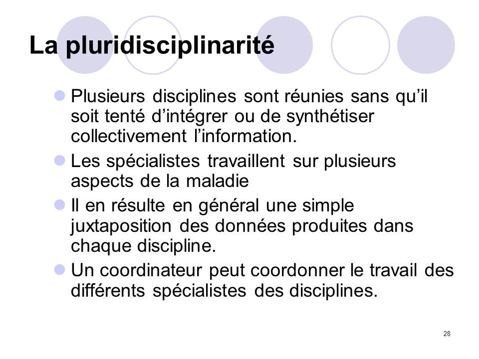 28 La pluridisciplinarité Plusieurs disciplines sont réunies sans quil soit tenté dintégrer ou de synthétiser collectivement linformation. Les spécial