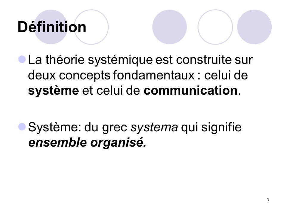 3 Définition La théorie systémique est construite sur deux concepts fondamentaux : celui de système et celui de communication. Système: du grec system