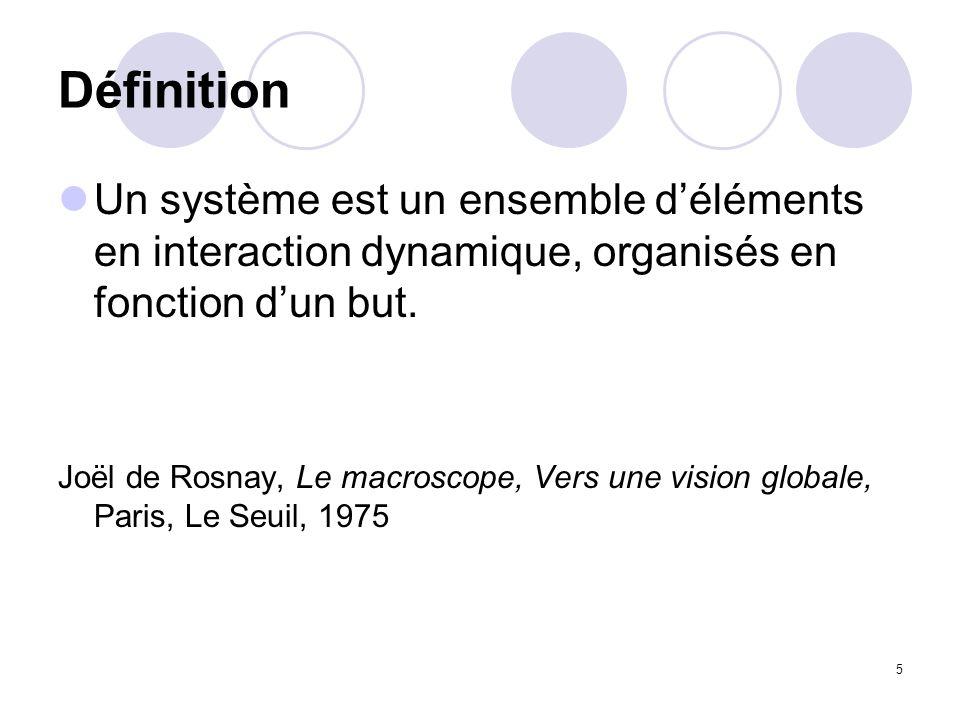 5 Définition Un système est un ensemble déléments en interaction dynamique, organisés en fonction dun but. Joël de Rosnay, Le macroscope, Vers une vis