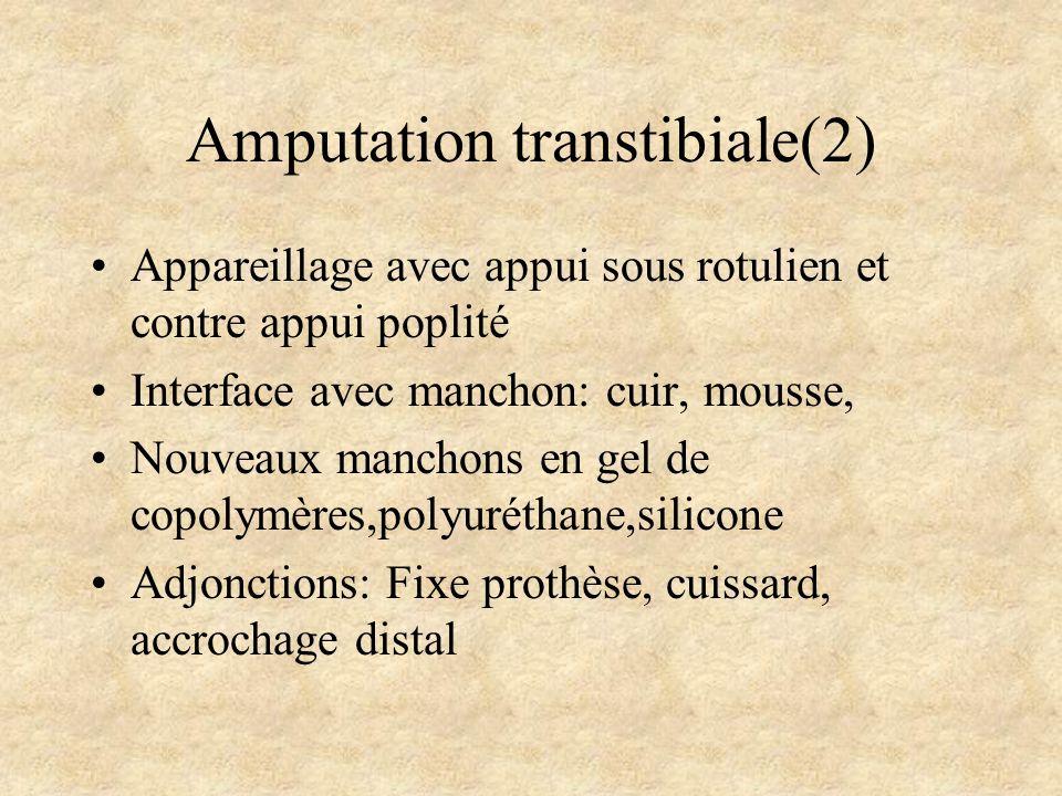 Amputation transtibiale(2) Appareillage avec appui sous rotulien et contre appui poplité Interface avec manchon: cuir, mousse, Nouveaux manchons en ge