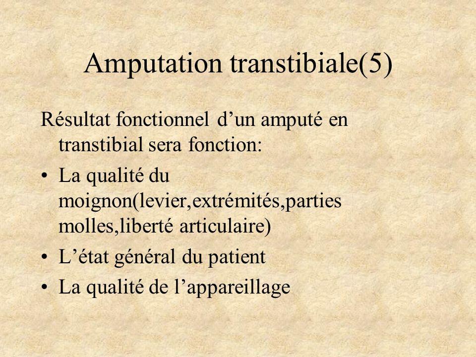 Amputation transtibiale(5) Résultat fonctionnel dun amputé en transtibial sera fonction: La qualité du moignon(levier,extrémités,parties molles,libert