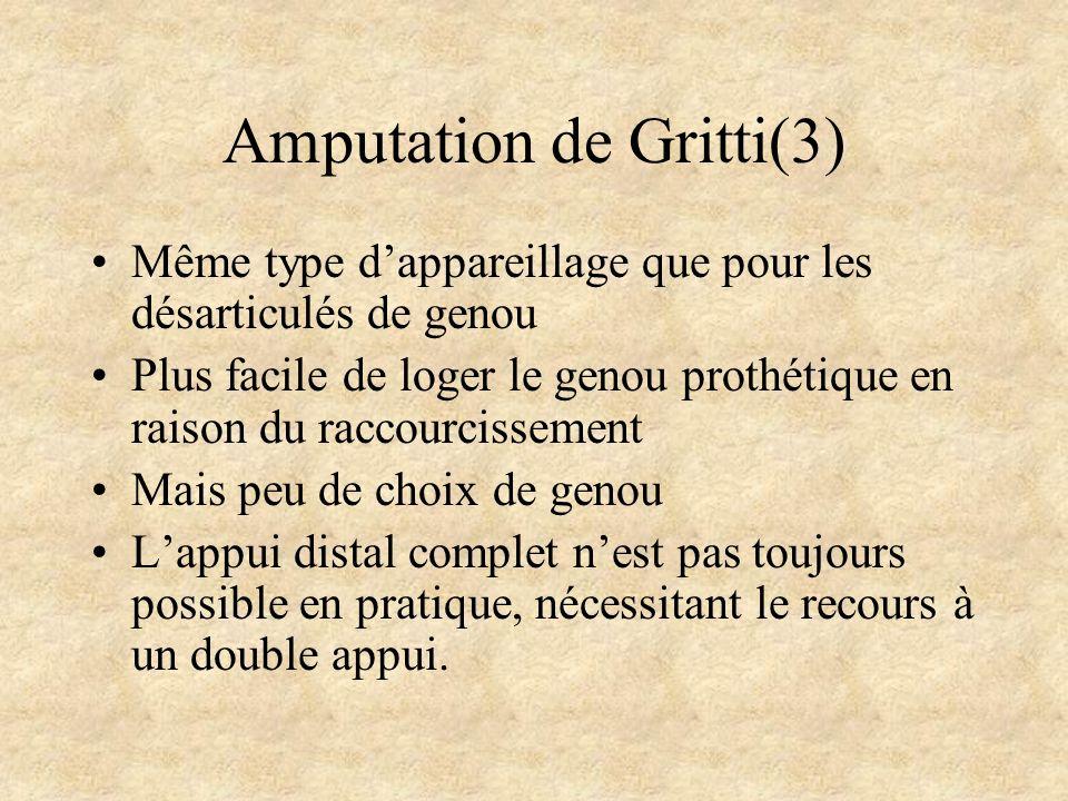 Amputation de Gritti(3) Même type dappareillage que pour les désarticulés de genou Plus facile de loger le genou prothétique en raison du raccourcisse