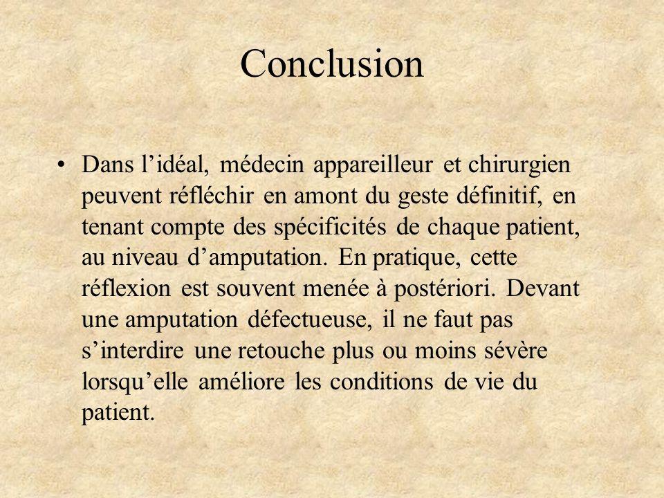 Conclusion Dans lidéal, médecin appareilleur et chirurgien peuvent réfléchir en amont du geste définitif, en tenant compte des spécificités de chaque