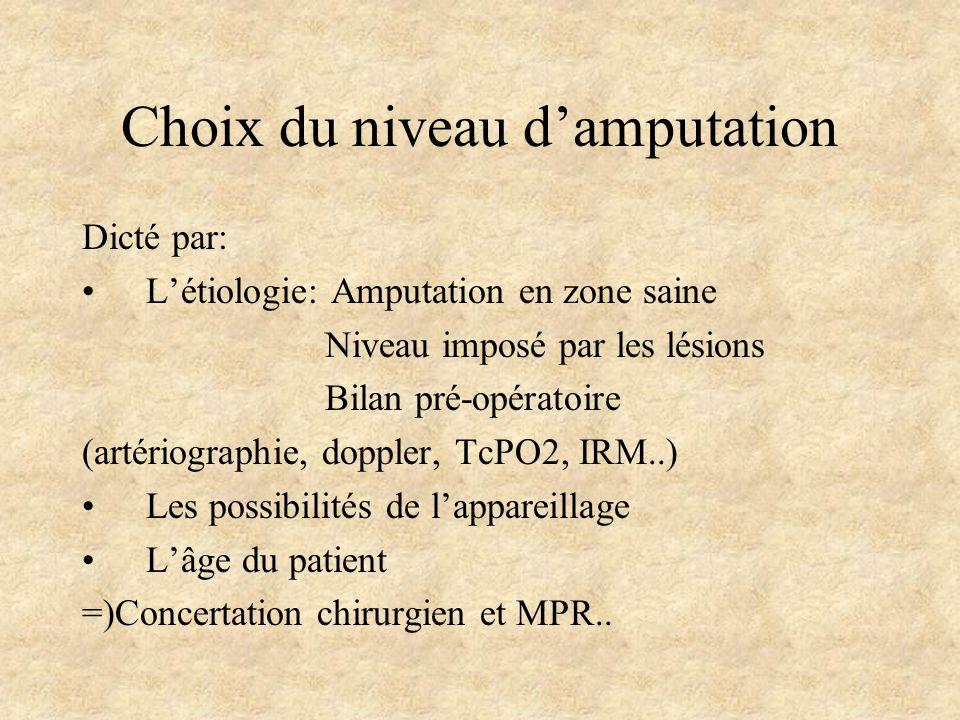 Choix du niveau damputation Dicté par: Létiologie: Amputation en zone saine Niveau imposé par les lésions Bilan pré-opératoire (artériographie, dopple