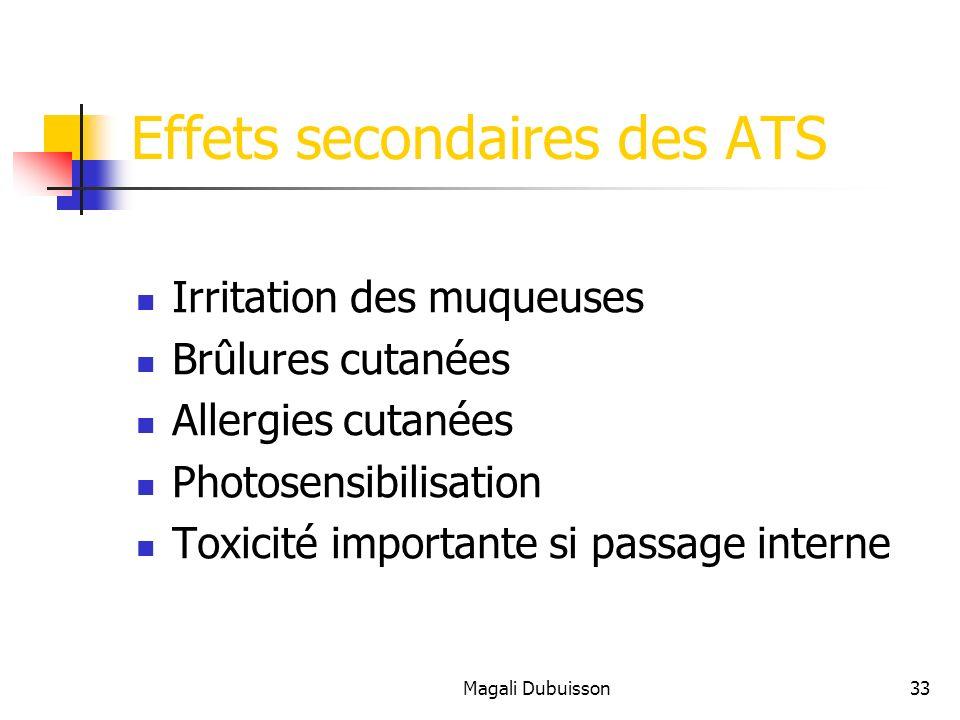 Magali Dubuisson33 Effets secondaires des ATS Irritation des muqueuses Brûlures cutanées Allergies cutanées Photosensibilisation Toxicité importante si passage interne