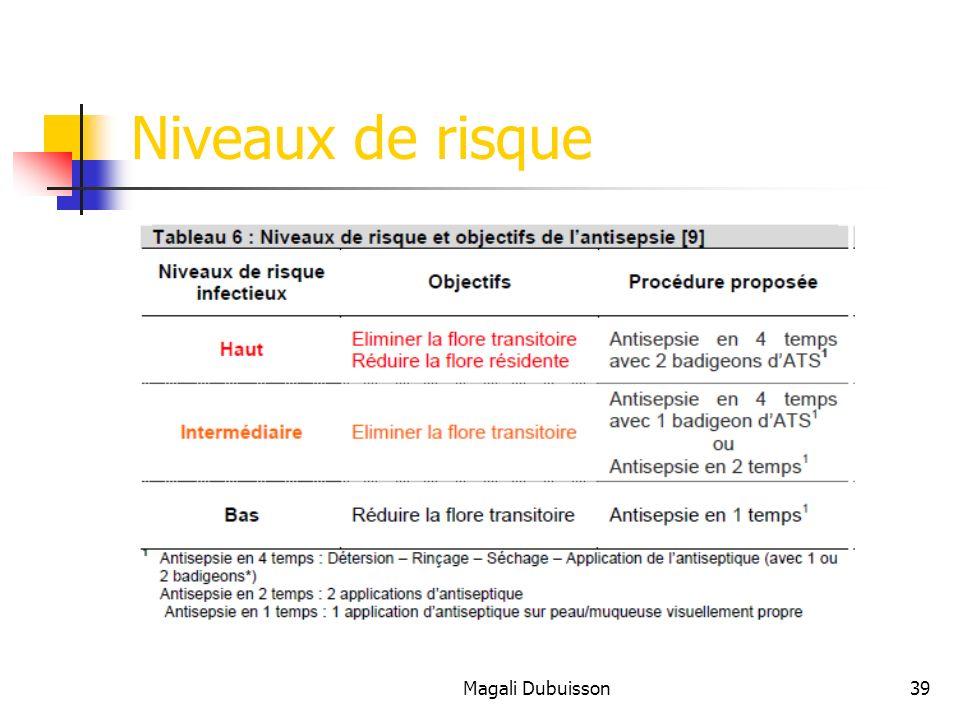 Magali Dubuisson39 Niveaux de risque