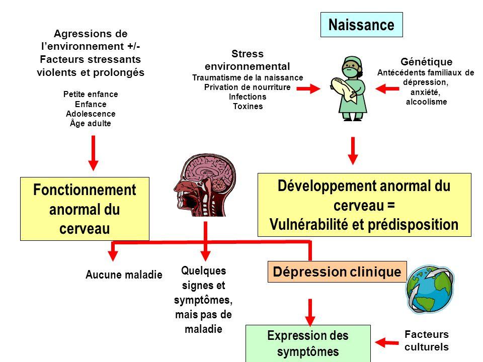 Génétique Antécédents familiaux de dépression, anxiété, alcoolisme Stress environnemental Traumatisme de la naissance Privation de nourriture Infectio