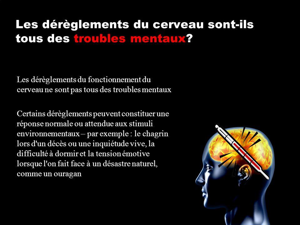 Les dérèglements du cerveau sont-ils tous des troubles mentaux? Les dérèglements du fonctionnement du cerveau ne sont pas tous des troubles mentaux Ce