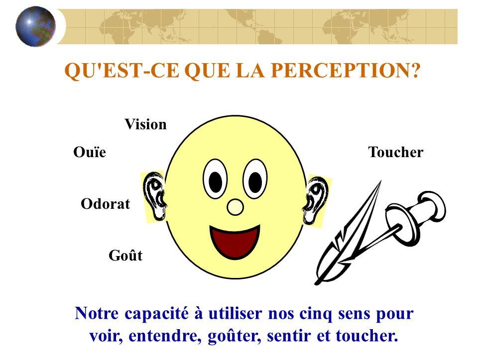 QU'EST-CE QUE LA PERCEPTION? Notre capacité à utiliser nos cinq sens pour voir, entendre, goûter, sentir et toucher. Vision Ouïe Odorat Goût Toucher