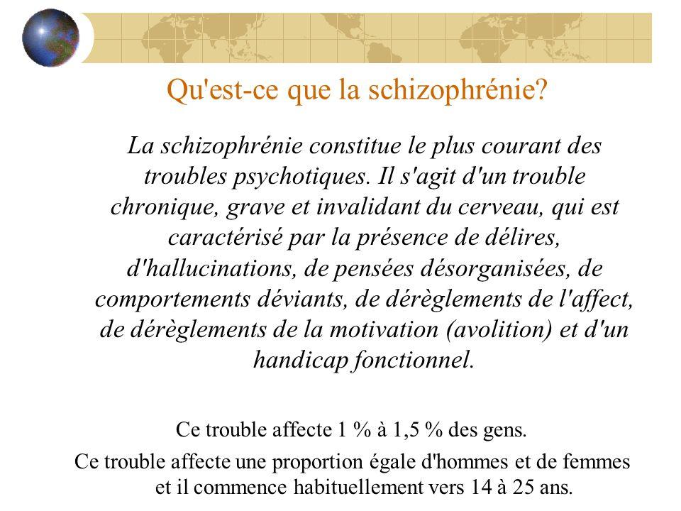 Qu'est-ce que la schizophrénie? La schizophrénie constitue le plus courant des troubles psychotiques. Il s'agit d'un trouble chronique, grave et inval