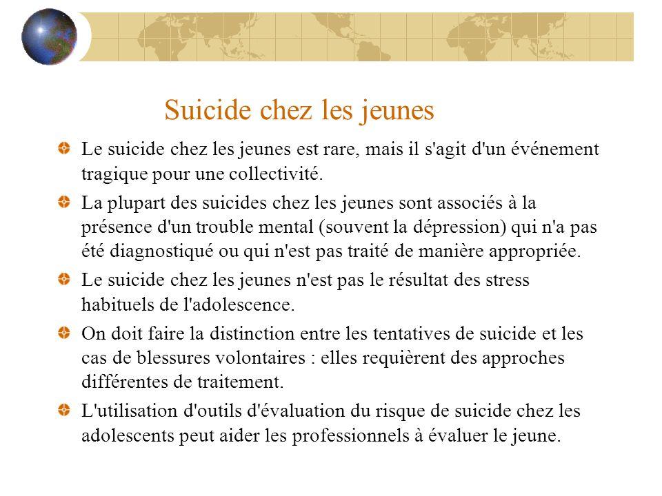 Suicide chez les jeunes Le suicide chez les jeunes est rare, mais il s'agit d'un événement tragique pour une collectivité. La plupart des suicides che