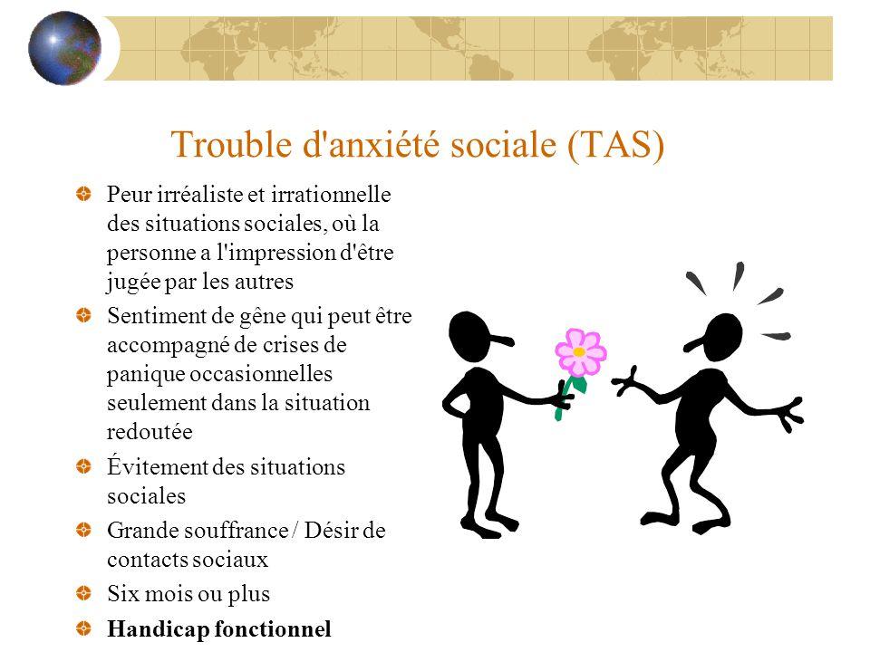 Trouble d'anxiété sociale (TAS) Peur irréaliste et irrationnelle des situations sociales, où la personne a l'impression d'être jugée par les autres Se
