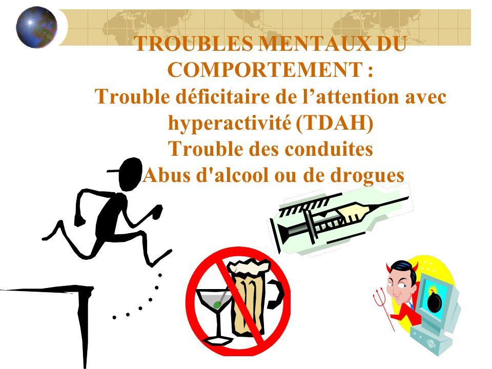 TROUBLES MENTAUX DU COMPORTEMENT : Trouble déficitaire de lattention avec hyperactivité (TDAH) Trouble des conduites Abus d'alcool ou de drogues