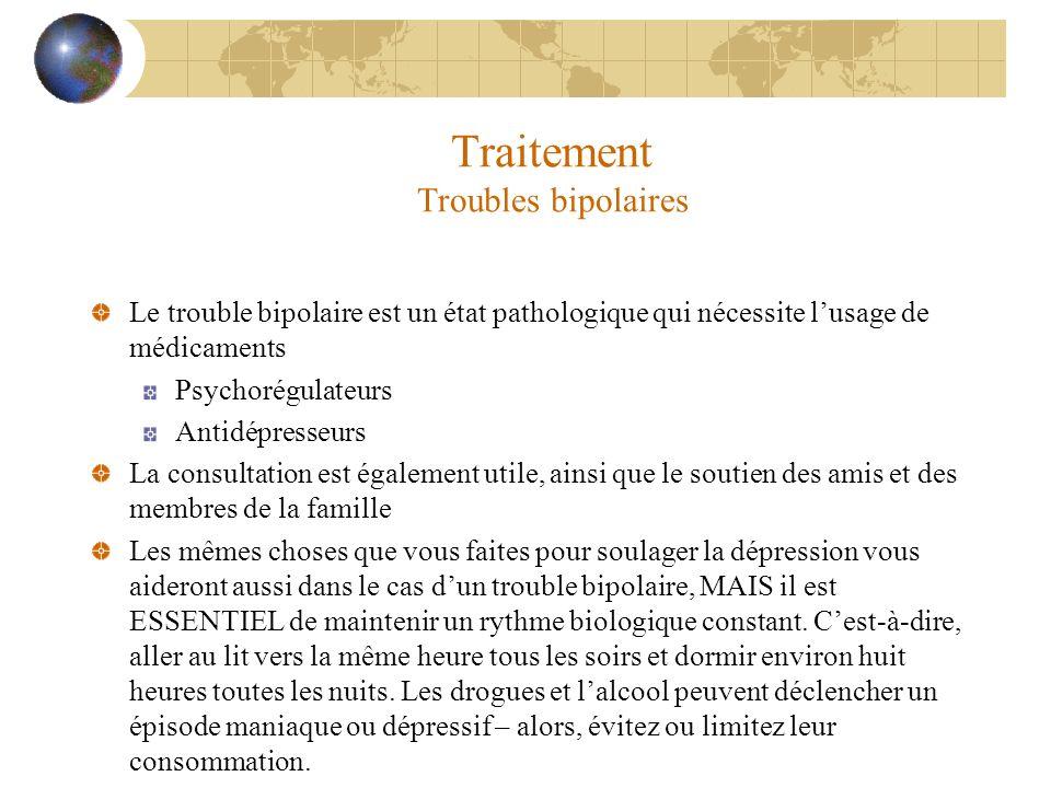Traitement Troubles bipolaires Le trouble bipolaire est un état pathologique qui nécessite lusage de médicaments Psychorégulateurs Antidépresseurs La