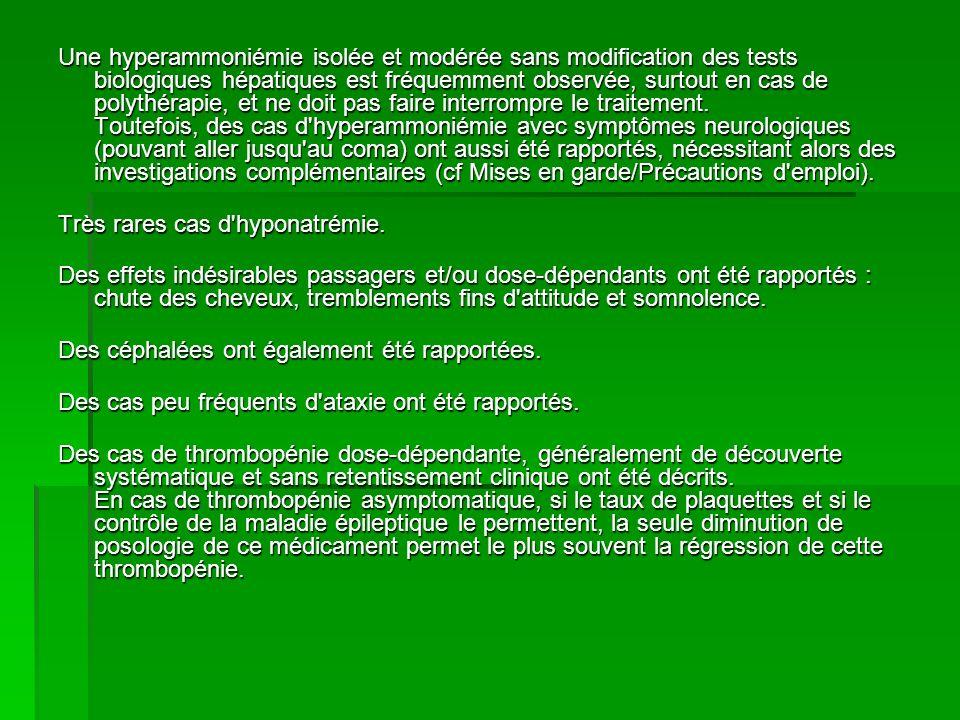 Des cas de diminution du fibrinogène ou d allongement du temps de saignement, généralement sans retentissement clinique, ont été rapportés surtout à doses élevées.