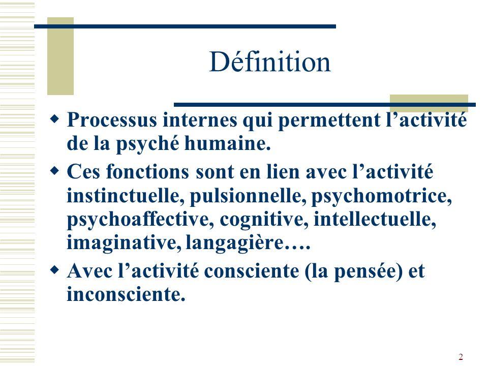 13 Les fonctions cognitives Elles permettent lexercice de lintelligence : faculté de connaître, comprendre, saisir les rapports, trouver des solutions.