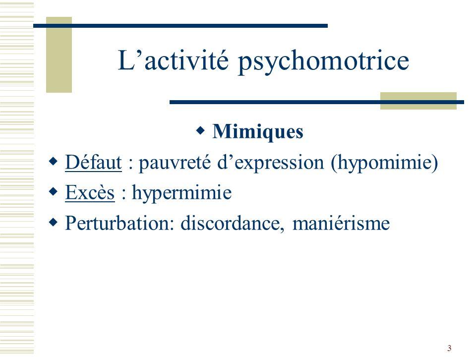 4 Lactivité psychomotrice Gestualité Réduction : inhibition, ralentissement, apragmatisme (absence dactivité) Excès : excitation motrice, hyperactivité, agitation