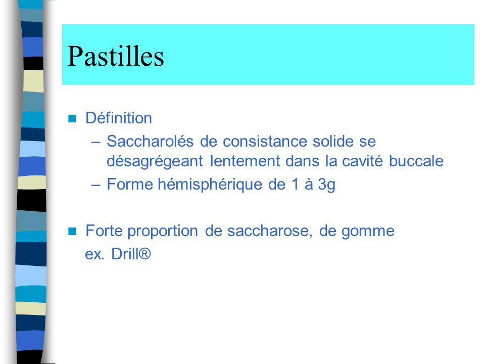 Pastilles Définition –Saccharolés de consistance solide se désagrégeant lentement dans la cavité buccale –Forme hémisphérique de 1 à 3g Forte proportion de saccharose, de gomme ex.