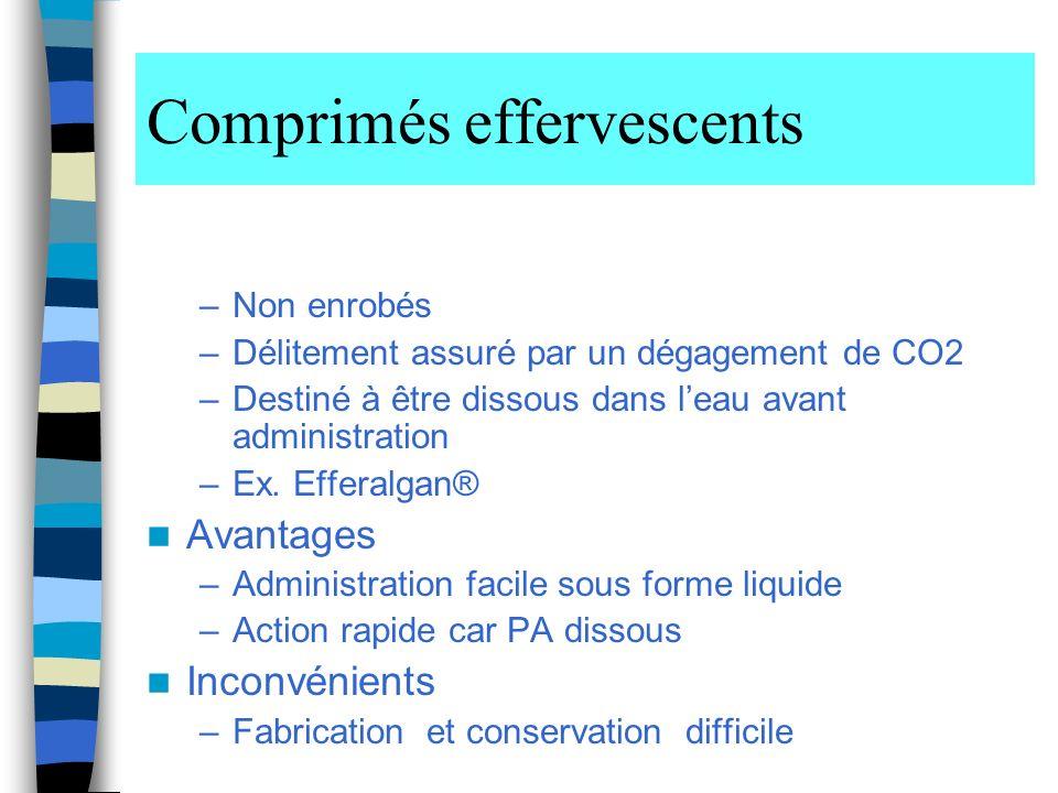 Comprimés effervescents –Non enrobés –Délitement assuré par un dégagement de CO2 –Destiné à être dissous dans leau avant administration –Ex.