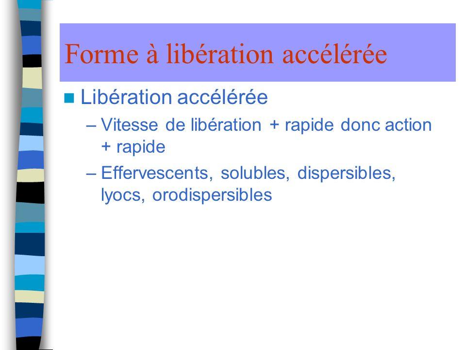 Forme à libération accélérée Libération accélérée –Vitesse de libération + rapide donc action + rapide –Effervescents, solubles, dispersibles, lyocs, orodispersibles