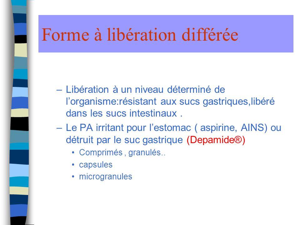 Forme à libération différée –Libération à un niveau déterminé de lorganisme:résistant aux sucs gastriques,libéré dans les sucs intestinaux.