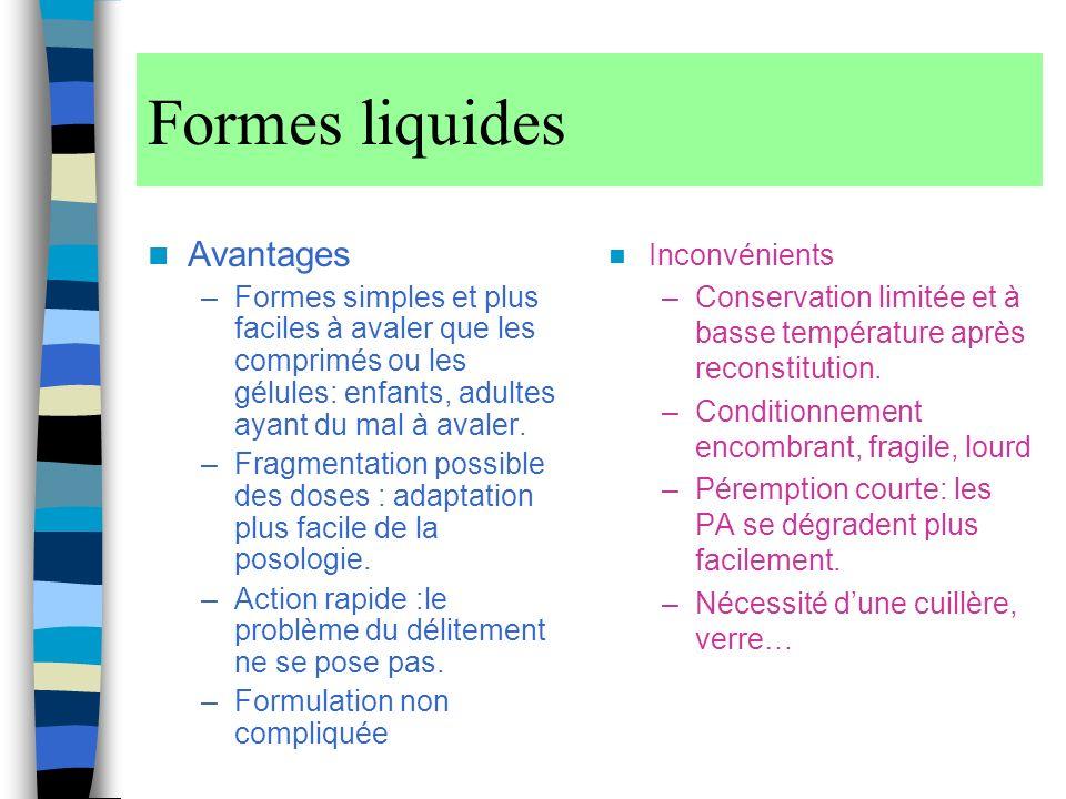Formes liquides Avantages –Formes simples et plus faciles à avaler que les comprimés ou les gélules: enfants, adultes ayant du mal à avaler.