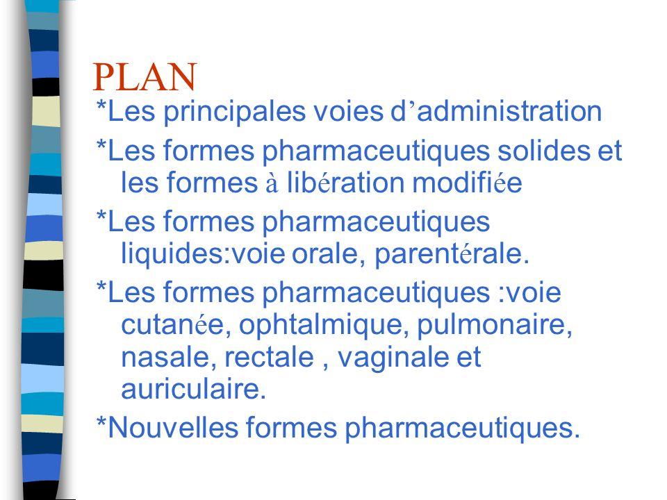 PLAN *Les principales voies d administration *Les formes pharmaceutiques solides et les formes à lib é ration modifi é e *Les formes pharmaceutiques liquides:voie orale, parent é rale.
