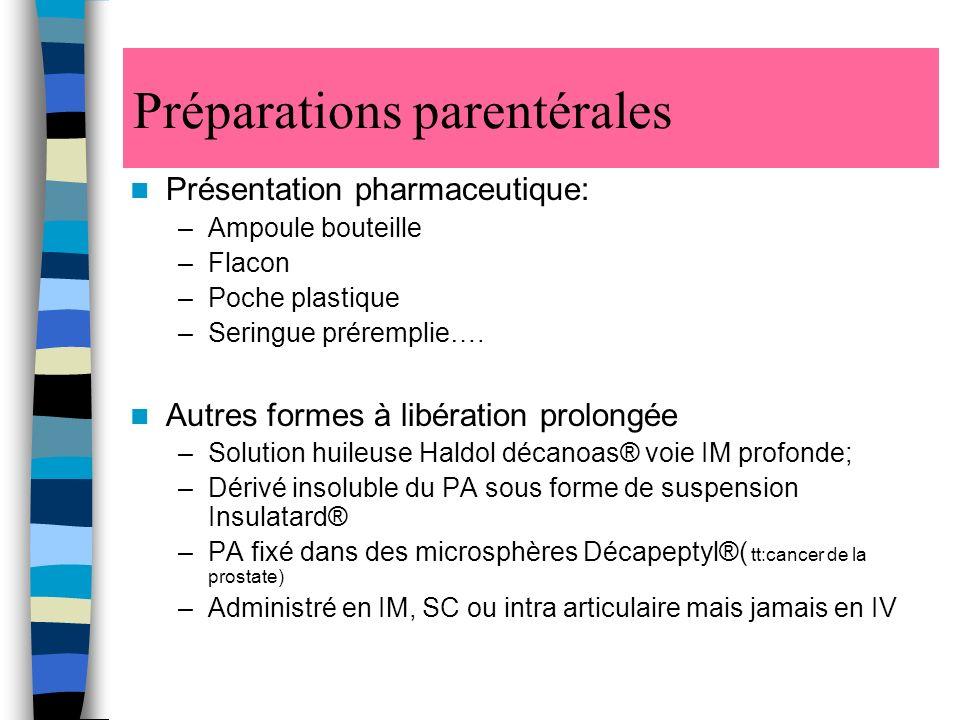 Préparations parentérales Présentation pharmaceutique: –Ampoule bouteille –Flacon –Poche plastique –Seringue préremplie….