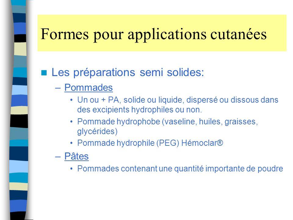 Formes pour applications cutanées Les préparations semi solides: –Pommades Un ou + PA, solide ou liquide, dispersé ou dissous dans des excipients hydrophiles ou non.