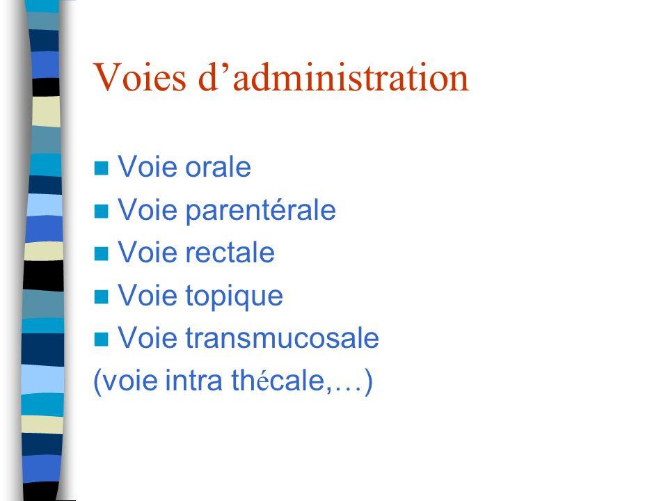 Voies dadministration Voie orale Voie parentérale Voie rectale Voie topique Voie transmucosale (voie intra th é cale, … )
