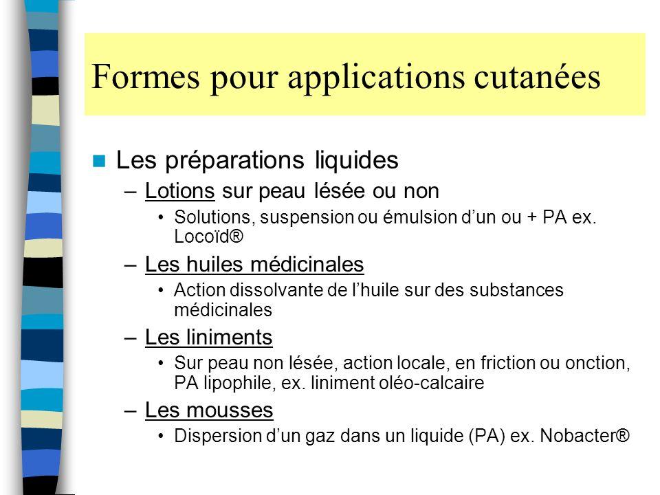 Formes pour applications cutanées Les préparations liquides –Lotions sur peau lésée ou non Solutions, suspension ou émulsion dun ou + PA ex.