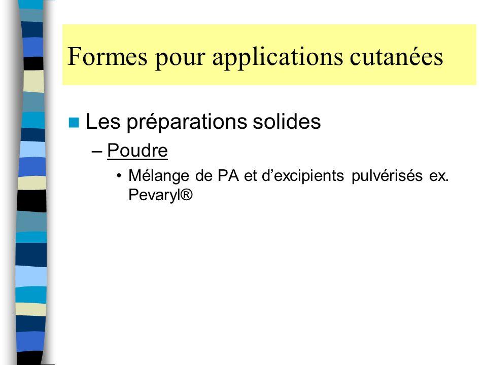 Formes pour applications cutanées Les préparations solides –Poudre Mélange de PA et dexcipients pulvérisés ex.