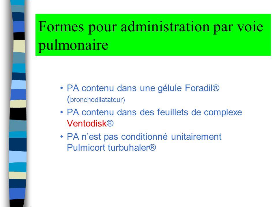 Formes pour administration par voie pulmonaire PA contenu dans une gélule Foradil® ( bronchodilatateur) PA contenu dans des feuillets de complexe Ventodisk® PA nest pas conditionné unitairement Pulmicort turbuhaler®