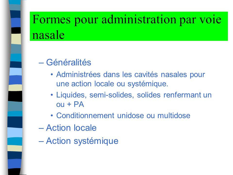 Formes pour administration par voie nasale –Généralités Administrées dans les cavités nasales pour une action locale ou systémique.