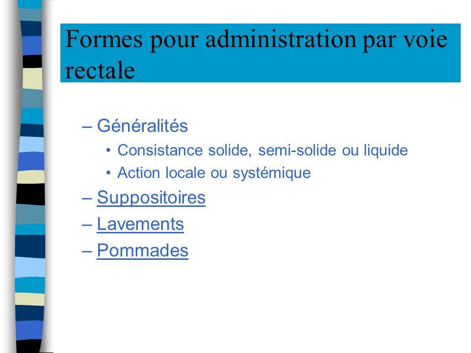 Formes pour administration par voie rectale –Généralités Consistance solide, semi-solide ou liquide Action locale ou systémique –Suppositoires –Lavements –Pommades