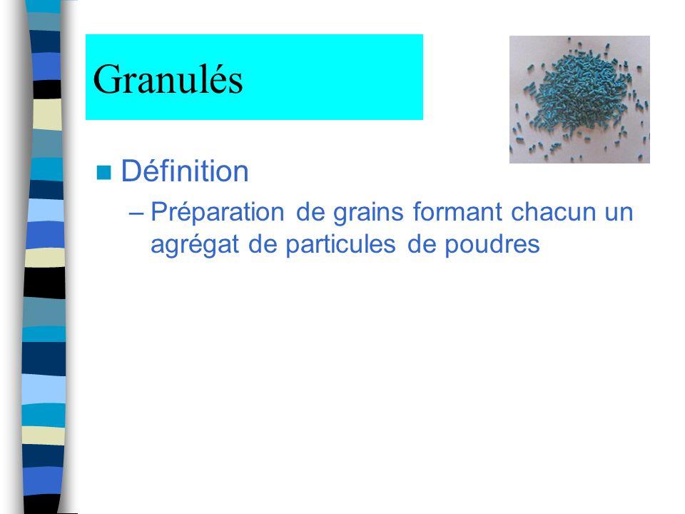 Granulés Définition –Préparation de grains formant chacun un agrégat de particules de poudres