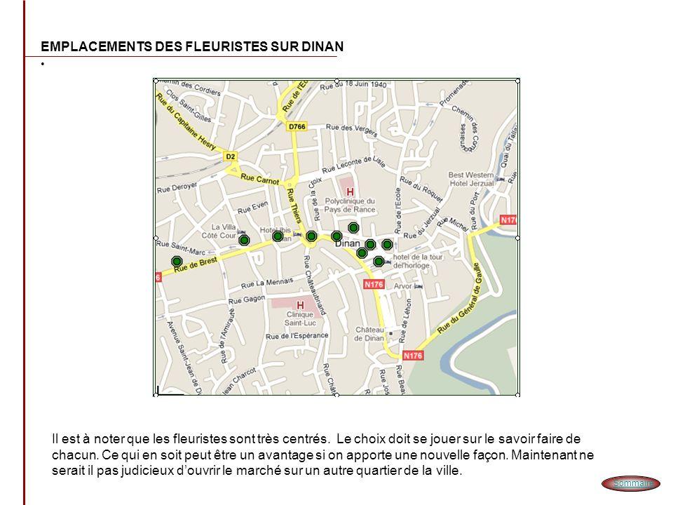 EMPLACEMENTS DES FLEURISTES AUTOUR DE DINAN Très peu de fleuristes dans la périphérie de Dinan.